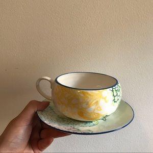 Anthropologie wide mouth patterned mug & saucer
